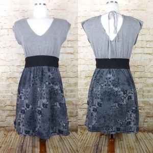 American Rag Gray Black Floral Knit Stretch Dress